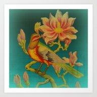 Indian Bird Trade Label Art Print
