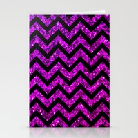 Chevron Purple Sparkle Stationery Cards
