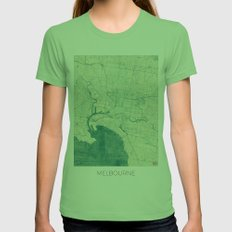 Melbourne Map Blue Vinta… Womens Fitted Tee Grass SMALL