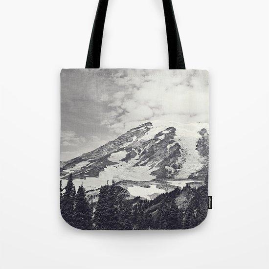 Mount Rainier B&W Tote Bag