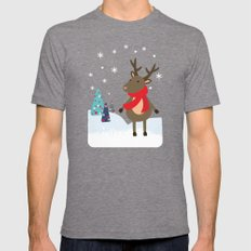 Christmas Deer Mens Fitted Tee Tri-Grey SMALL