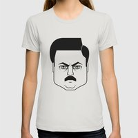 Ron Swanson Womens Fitted Tee Silver SMALL