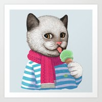 ice cream Art Prints featuring Ice cream by Tummeow
