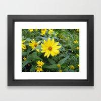 Woodland Sunflowers Framed Art Print