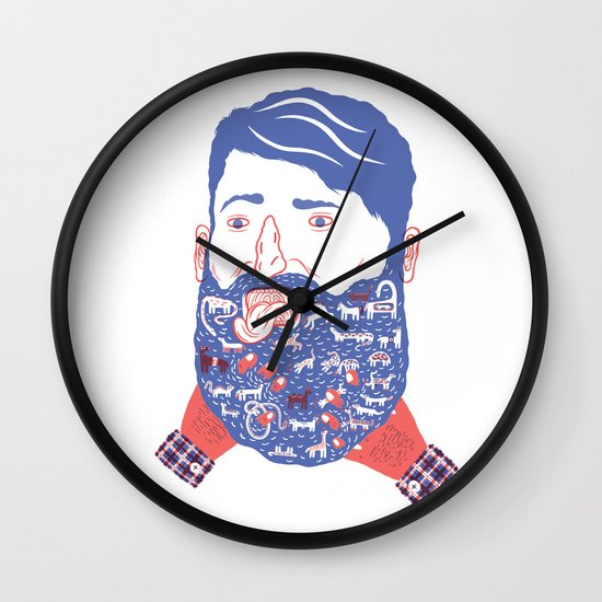 Animals in Beard Wall Clock