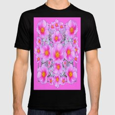Roses In Pink Pattern Ab… Mens Fitted Tee Black SMALL