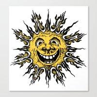 sun face - original yellow Canvas Print