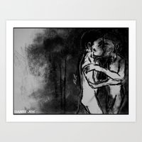 Lovers Against The Wall Art Print