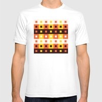 Stripes & Squares Mens Fitted Tee White SMALL