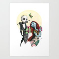 Jack And Sally Merry Chr… Art Print