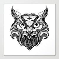 Owl - Drawing Canvas Print