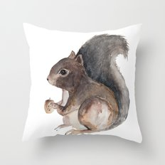Watercolor Squirrel Throw Pillow