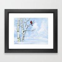 Snow Cardinal Framed Art Print
