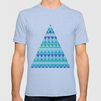 Winter Aztec Pattern Mens Fitted Tee Athletic Blue SMALL