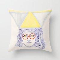 Yellow Triangles Throw Pillow