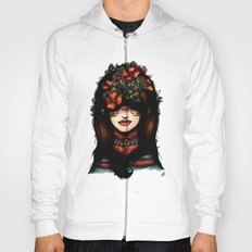 The girl who was thinking about geometry & red flowers Hoody