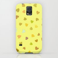 iPhone Cases featuring Love, Romance, Hearts - Yellow Green Brown Blue  by sitnica