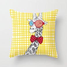 3D Giraffe / Yellow White & Red Print Throw Pillow