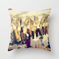 Indian Corn At The Farme… Throw Pillow