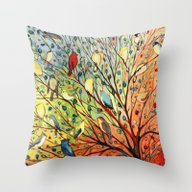 Throw Pillow featuring 27 Birds by Jennifer Lommers