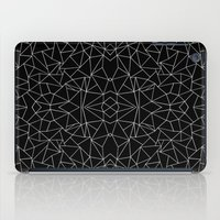 Abstract Collide Outline White on Black iPad Case