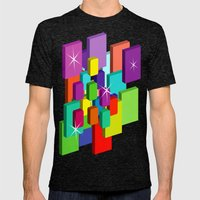 Blocked View Mens Fitted Tee Tri-Black SMALL
