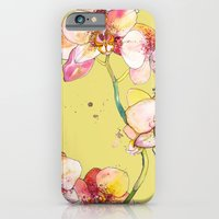 Pink Orchids in Yellow iPhone 6 Slim Case