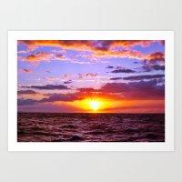 Sunset At Sea 1 - Hawaii Art Print