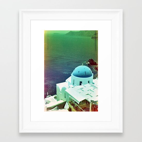 Blue Dome Church, Santorini: Shot with a Nikon FM2 and Revolog 600nm film Framed Art Print