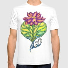 Lotus in Love White SMALL Mens Fitted Tee