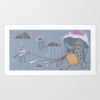 Rainstorm-blue Art Print