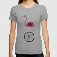 Flamingo Unicycler Womens Fitted Tee Athletic Grey SMALL