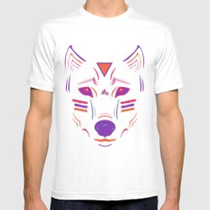 Eighties Wolf Mens Fitted Tee White SMALL