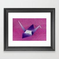 Purple Origami Crane Framed Art Print