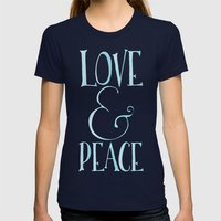 Love & Peace Womens Fitted Tee Navy SMALL