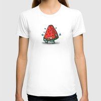 Watermelon Bot Womens Fitted Tee White SMALL