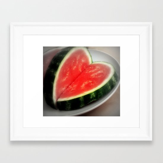 watermelon heart  Framed Art Print