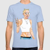 Miley Cyrus On Blue Pant… Mens Fitted Tee Tri-Blue SMALL
