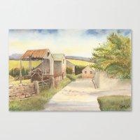 Farm Buildings by the Roadside Canvas Print