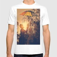 Sunshine Umbrella Mens Fitted Tee White SMALL