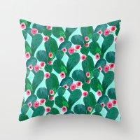 Jade Cactus Bloom Throw Pillow
