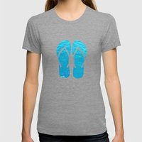 FLIP FLOP SUMMER Womens Fitted Tee Tri-Grey SMALL
