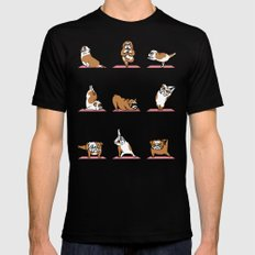 English Bulldog Yoga Black SMALL Mens Fitted Tee