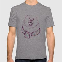 Bear & Scarf Mens Fitted Tee Tri-Grey SMALL