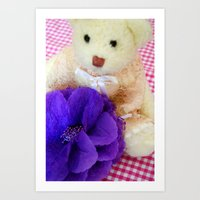 The white vintage bear Art Print