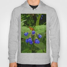 Butterfly and blue flowers Hoody