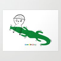 Crocodile Float Art Print
