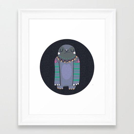 Gray monster Framed Art Print