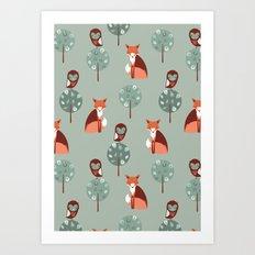 Fox Woods Art Print