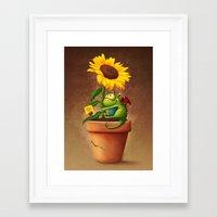 Sunflower&Dragon Framed Art Print